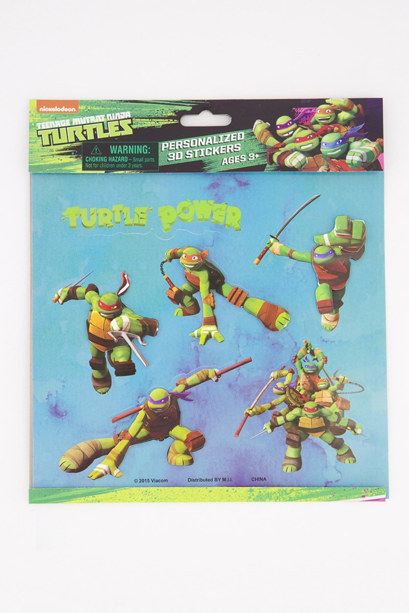 Turtles Personalized 3D Stickers, Purple/ Green