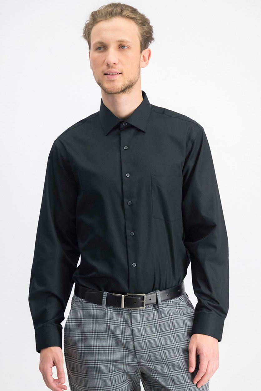 Men's Lux Sateen Button up Dress Shirt, Black