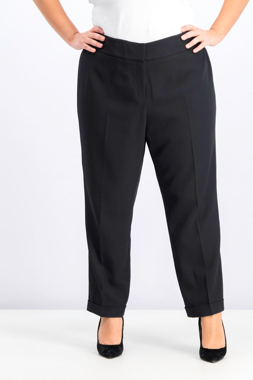 Women's Plus Size Cuffed Pants, Black