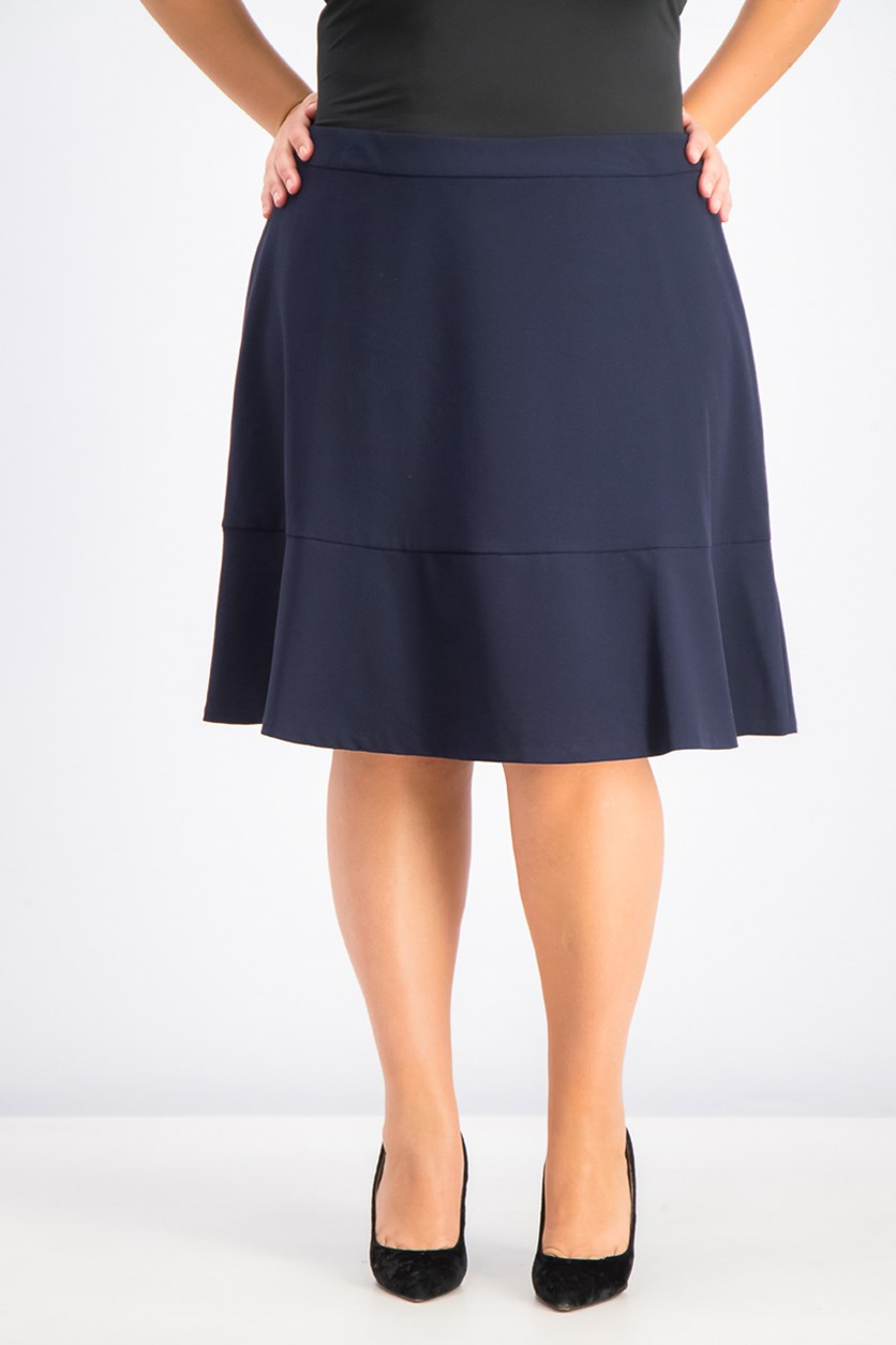 Women's Plus Size Bi-Stretch Ruffled Skirt, Navy