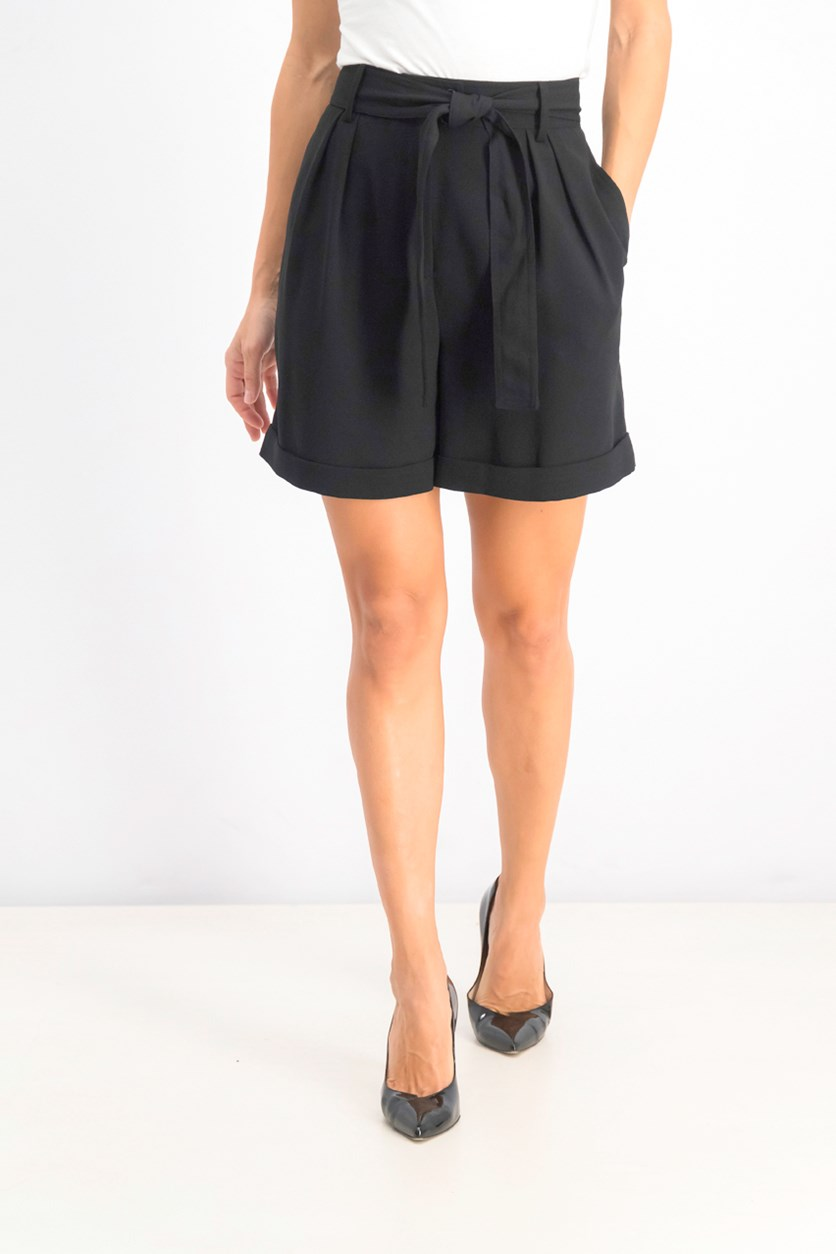 Women's Belted Solid Shorts, Black