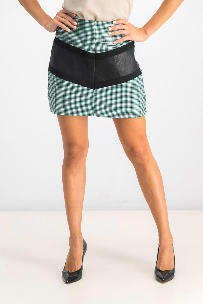 Women's Plaid Mini Skirt, Green/Black/White