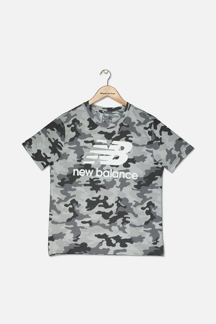 Kids Boy's Camo Graphic Tee, Grey/Black