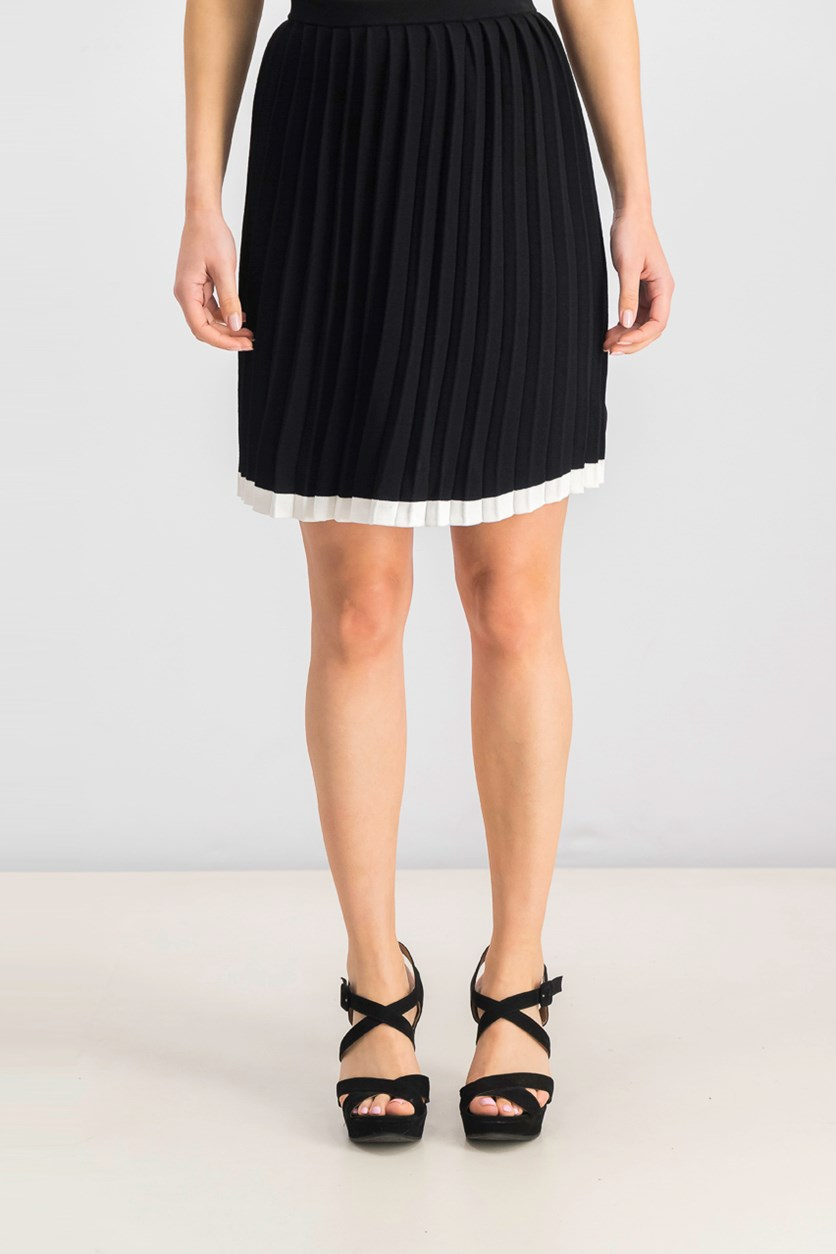 Women's Pleated A-Line Skirt, Black