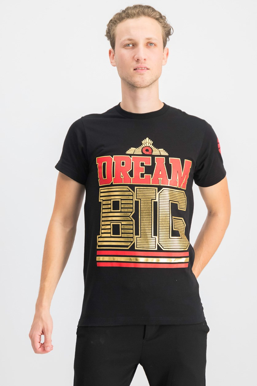 Men's Dream Big Printed Short Sleeves Tee, Black Combo