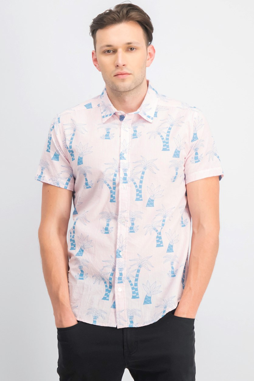 Men's Palm Printed Short Sleeves Shirt, Pink