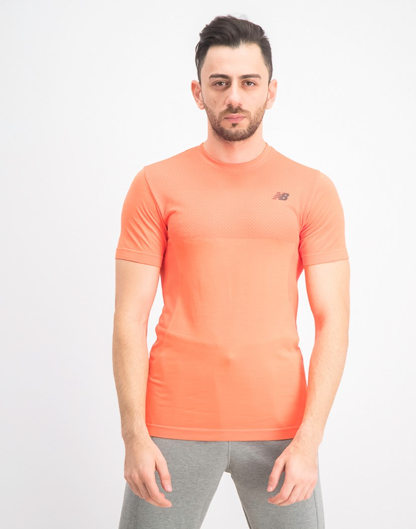 Men's Seamless Short Sleeve T-Shirt, Neon Orange