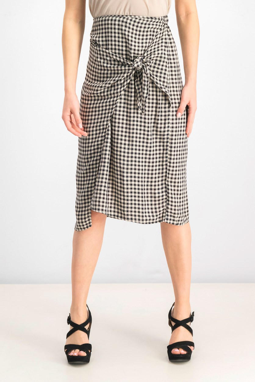 Womens Penny Checkered Wrap Skirt, Black