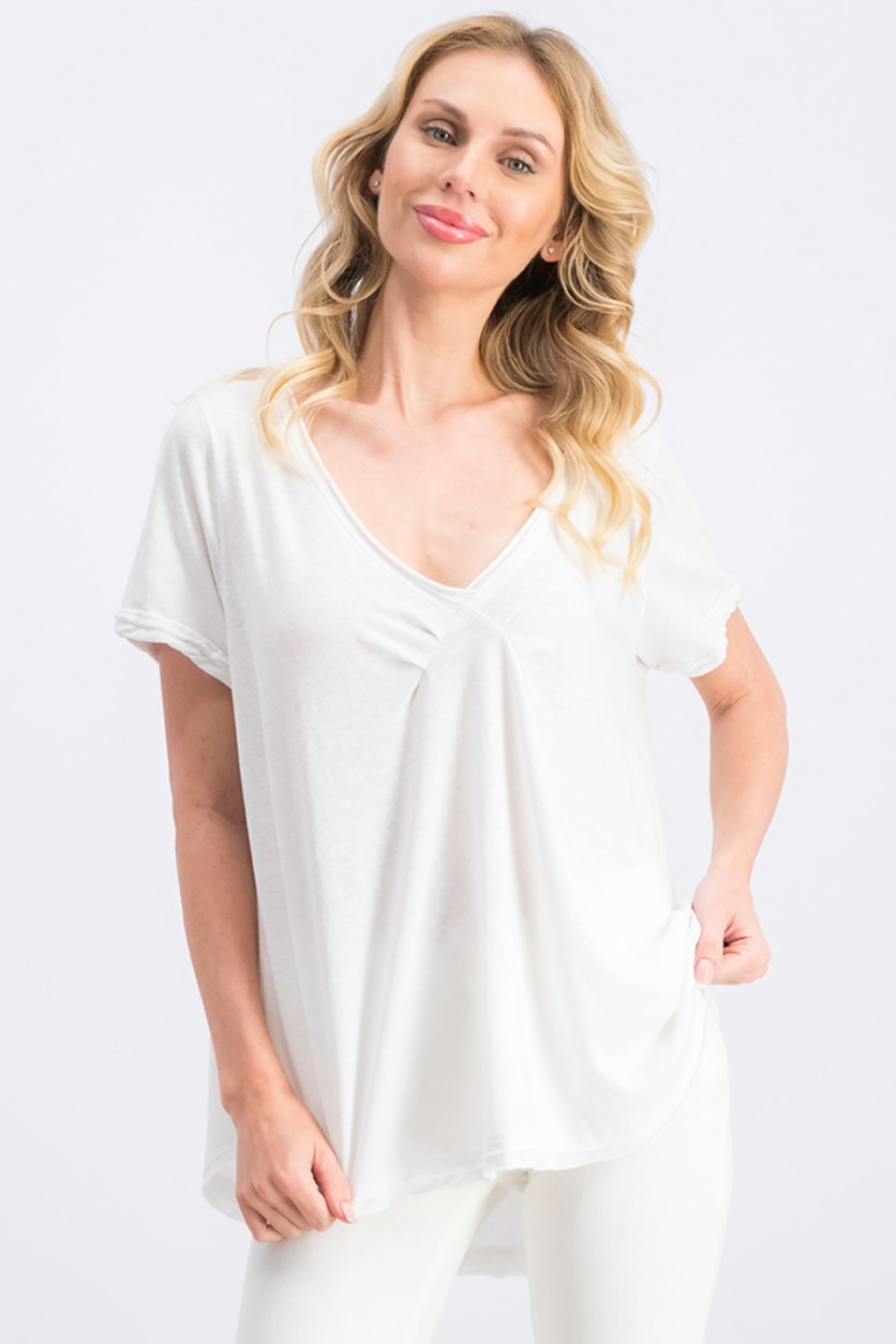 Women's Oversized All You Need Raw-Edge Tee, White