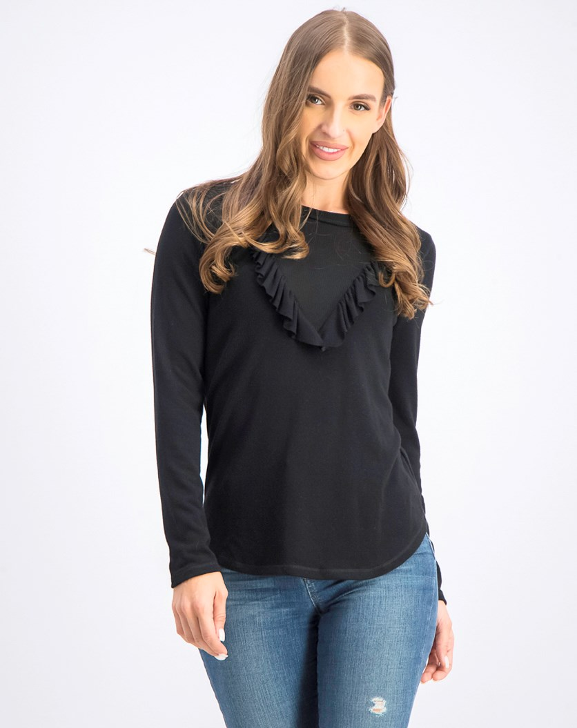 Womens Sylvie Ruffled Pullover Top, Black