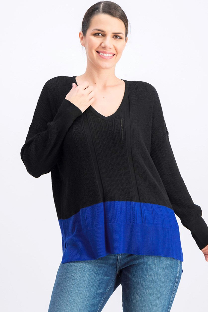 Women's V-neck Colorblocked Sweater, Black/Royal Blue