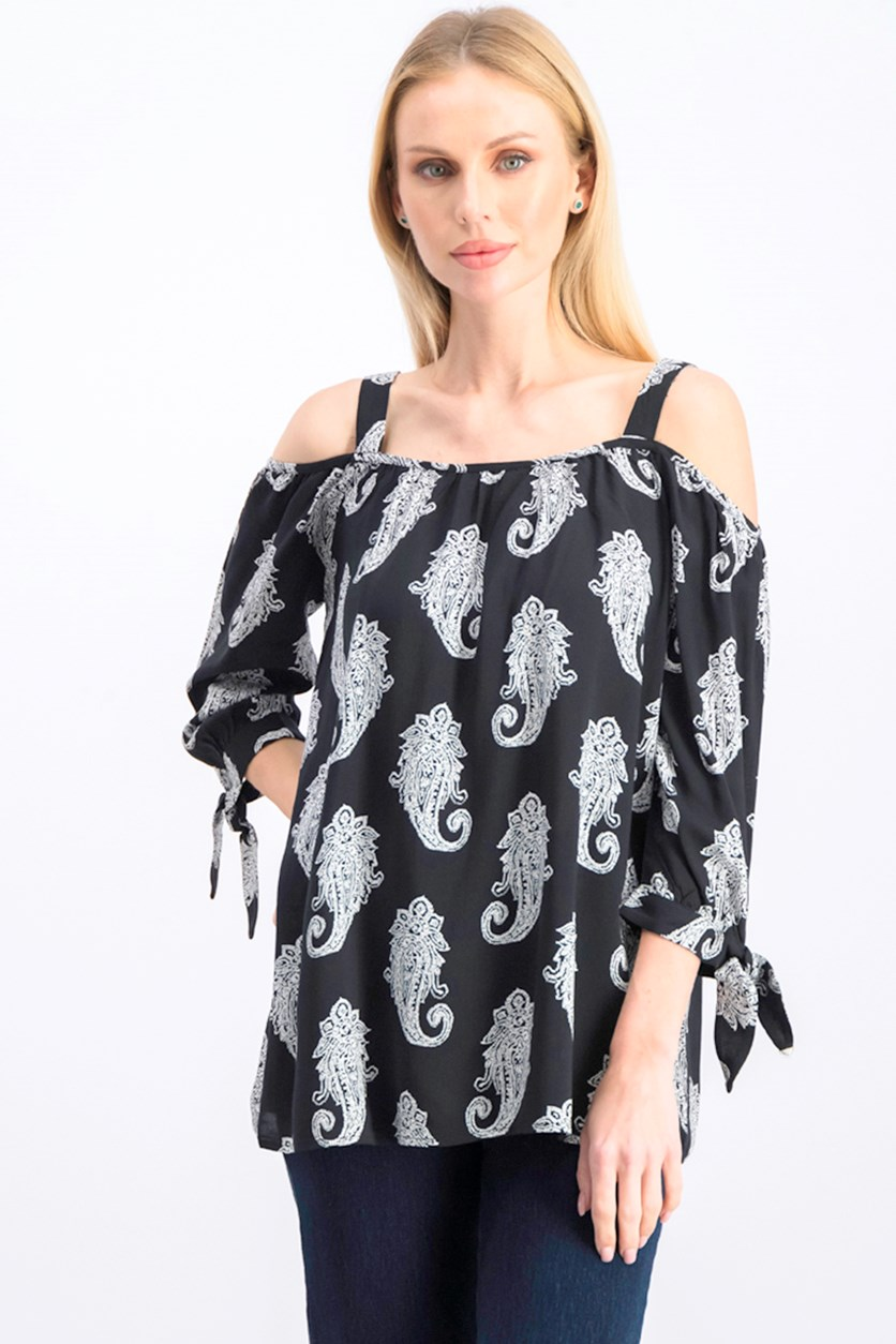 Women's Paisley Cold Shoulder Pullover Top, Black