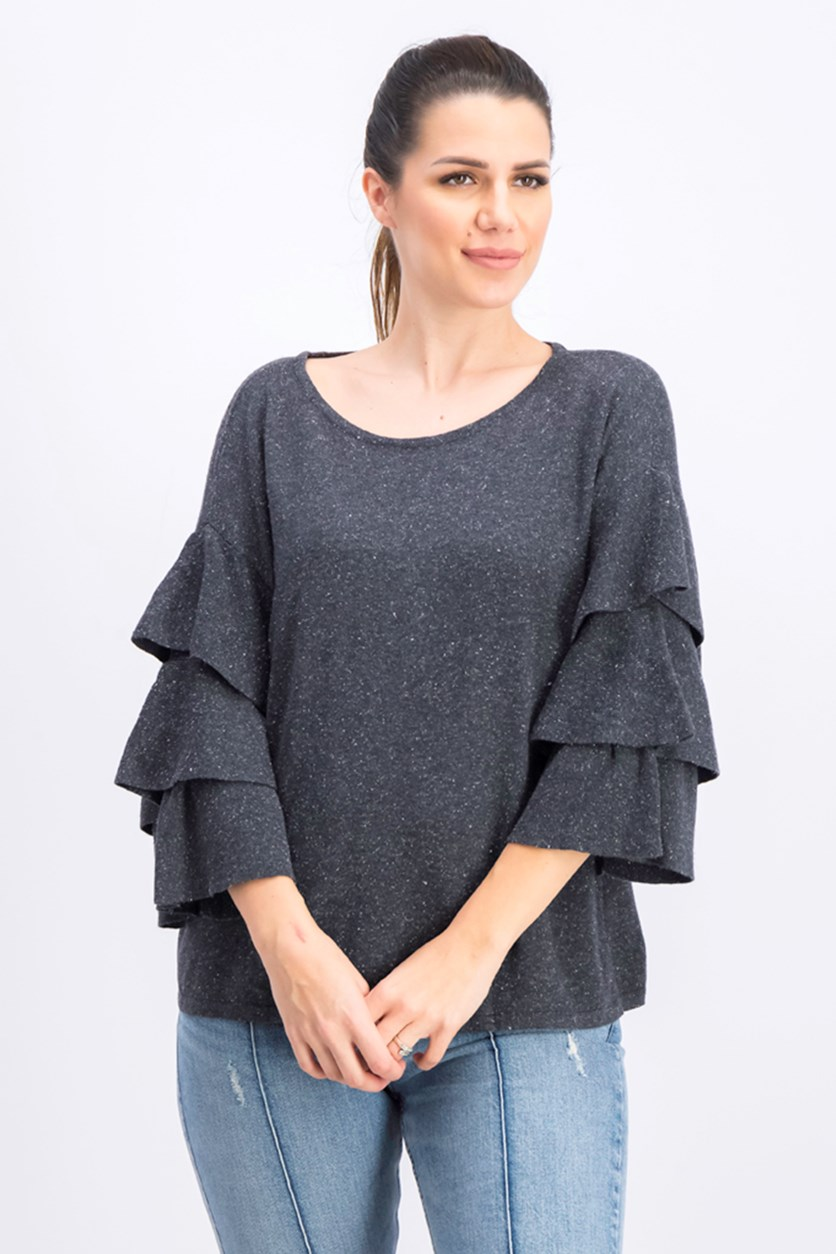 Women's Ruffled Bell Sleeve Sweater, Grey Heather