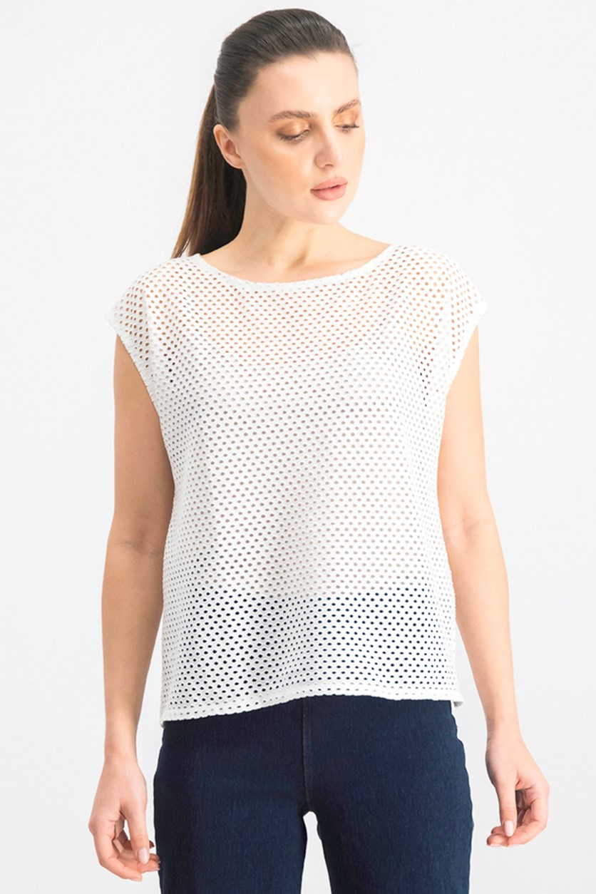 Women's Open Knit Top, White