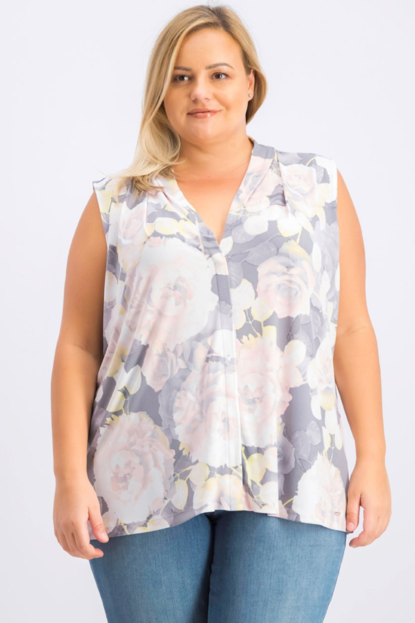 Women's Plus Size Sleeveless V-Neck Top, Gray/Peach