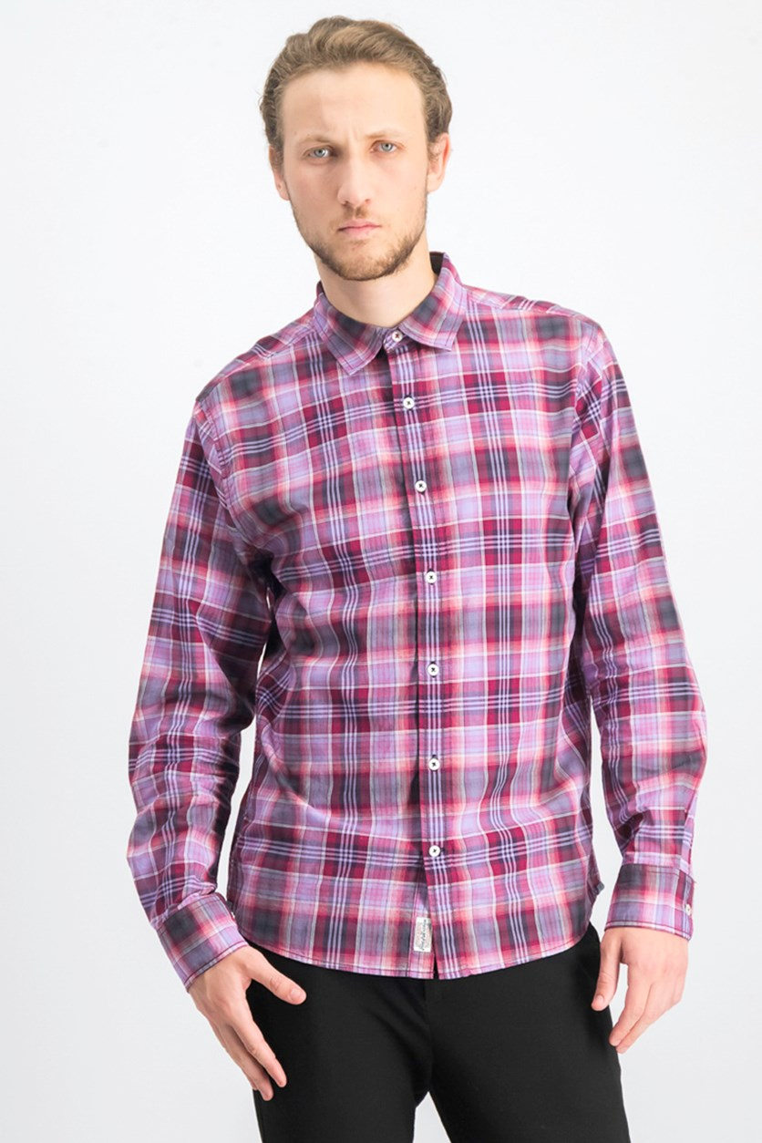 Men's Checkered Long-sleeve Shirt, Charcoal/Pink