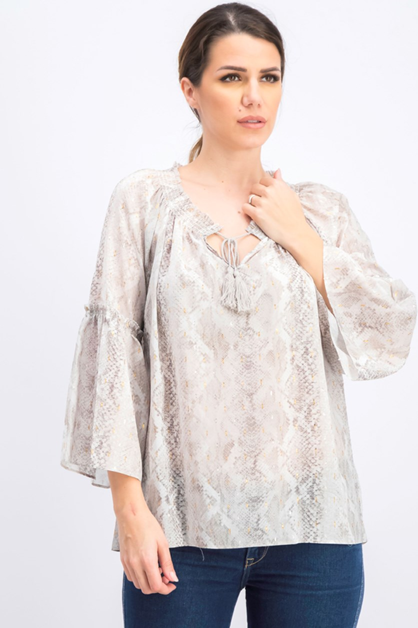 Womens Lilo Chiffon Metallic Blouse, Natural
