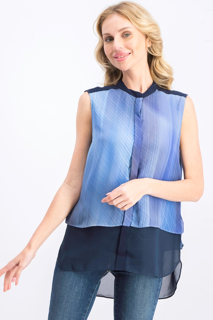 Womens Eve Silk Printed Button-Down Top, Navy Combo