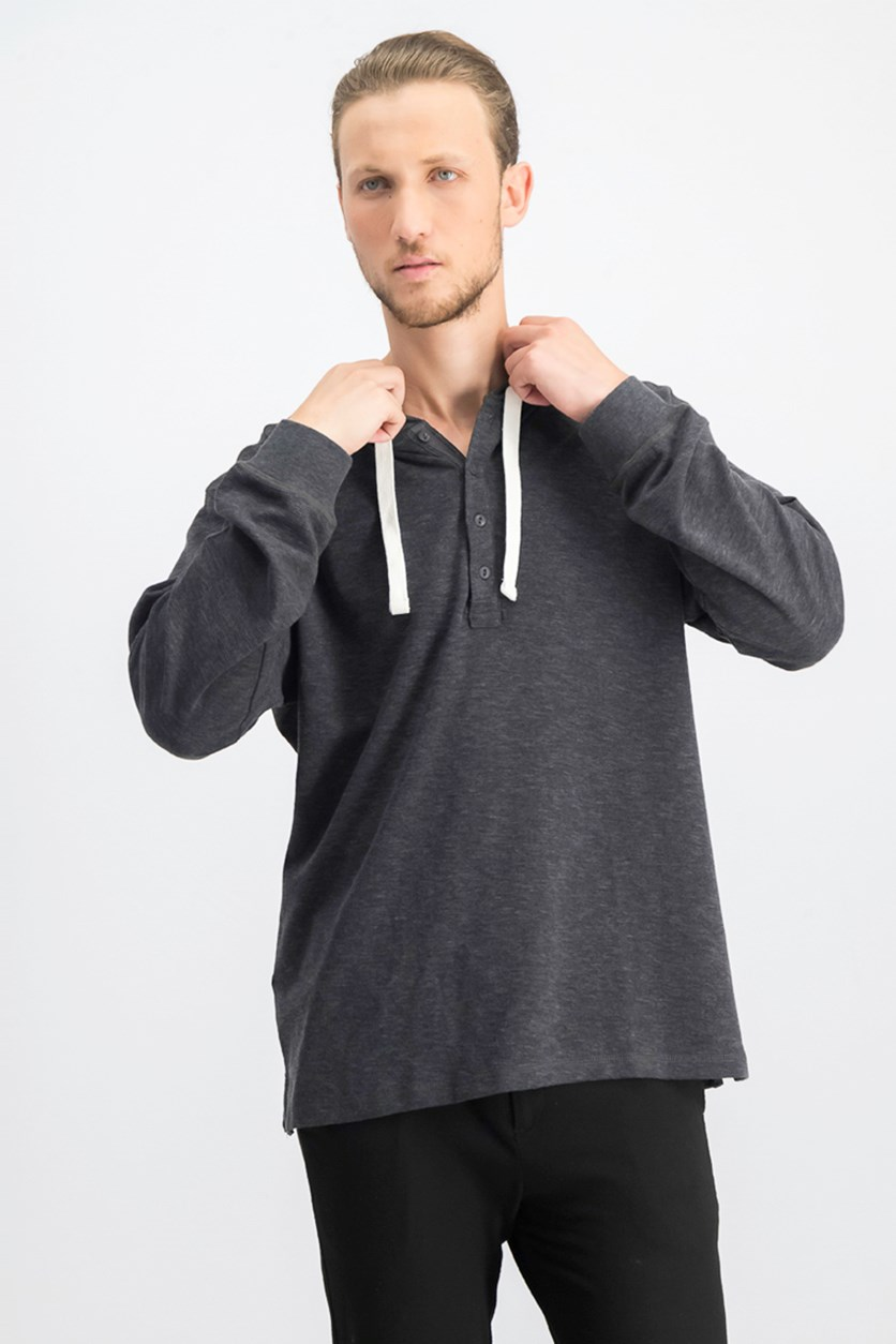 Men's Hooded Long Sleeves Sweater, Dark Heather Grey