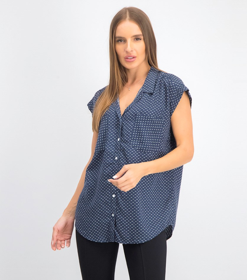 Women's Cap Sleeve Button Down Shirt, Navy/White