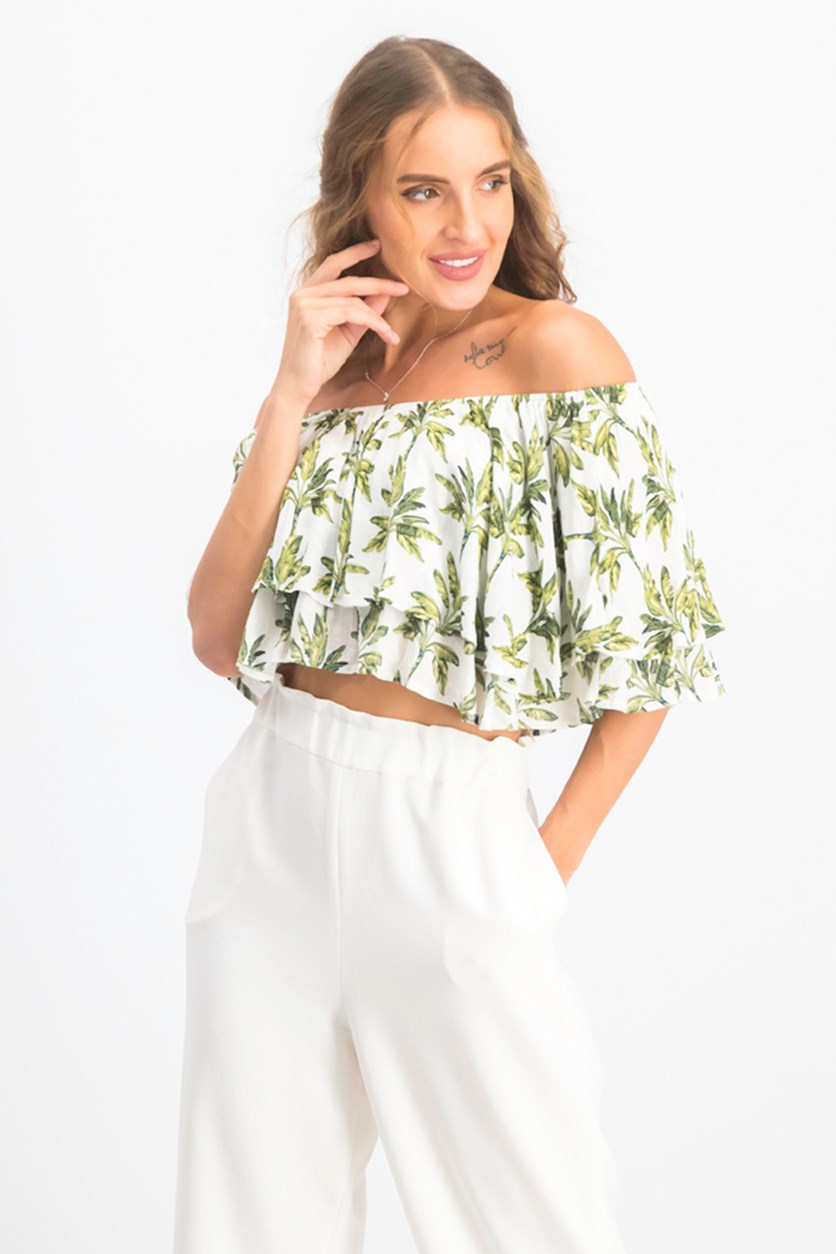 Women's Off-the-Shoulder Ruffled Crop Top, White/Green