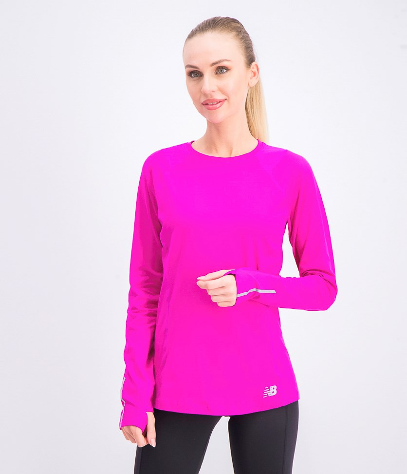 Stretch Knit Long Sleeve Top, Fuchsia Pink