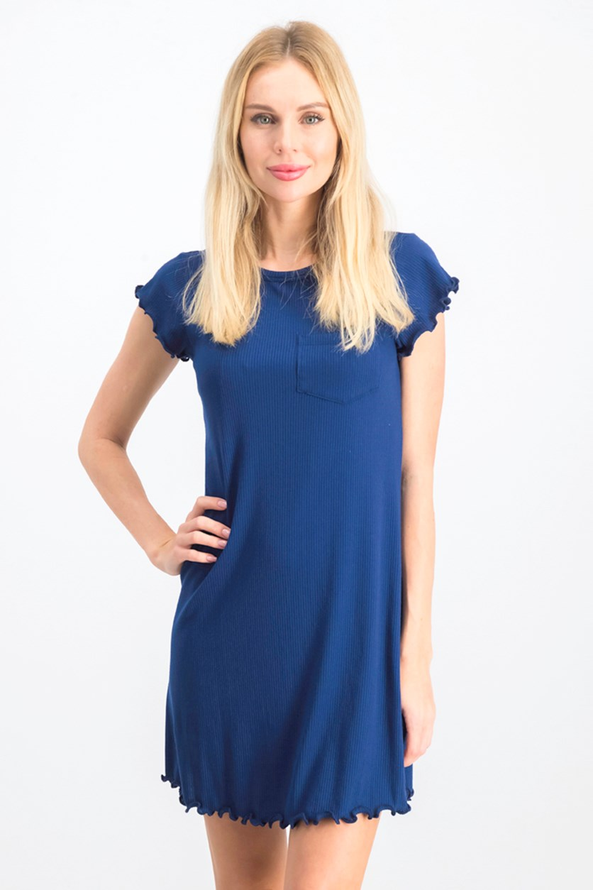 Juniors' Striped Lettuce-Edge Dress, Blue