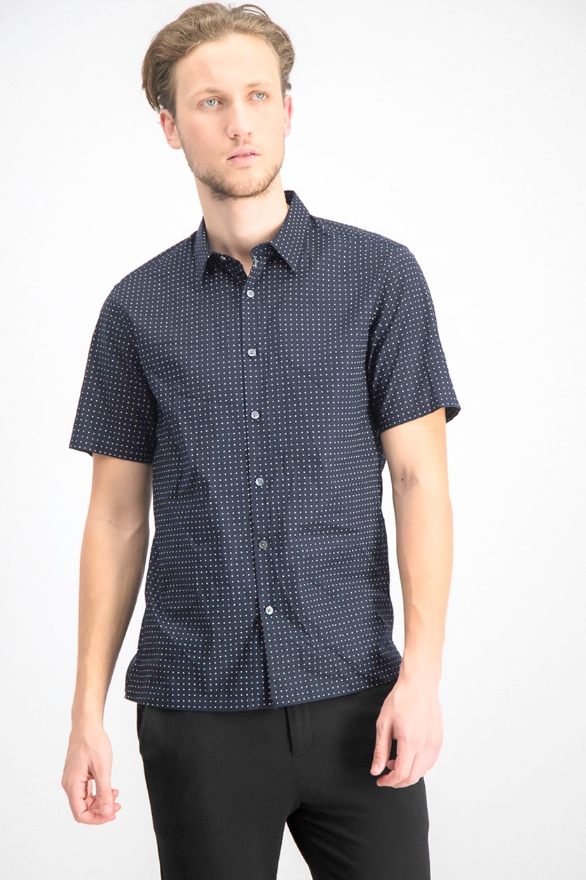 Men's Irving Sphere-Print Stretch-Cotton Casual Shirt, Eclipse
