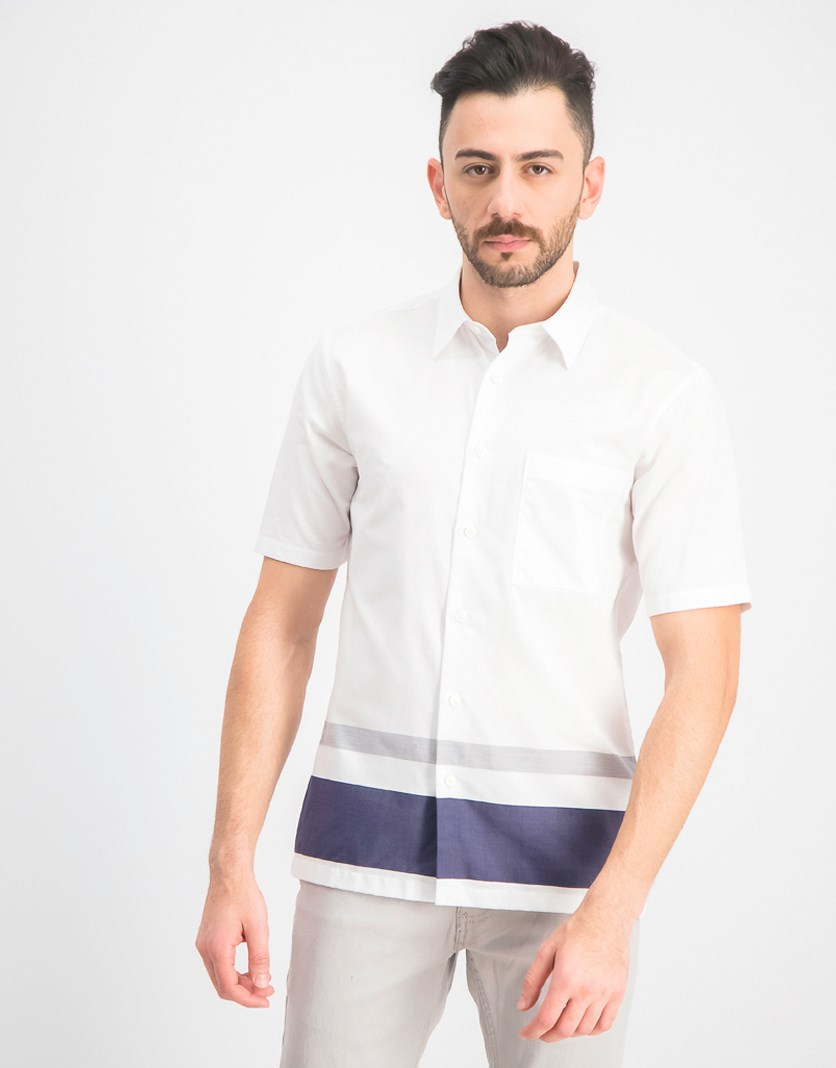 Men's Bruner Engineered Stripe Button-Down Shirt, White Combo