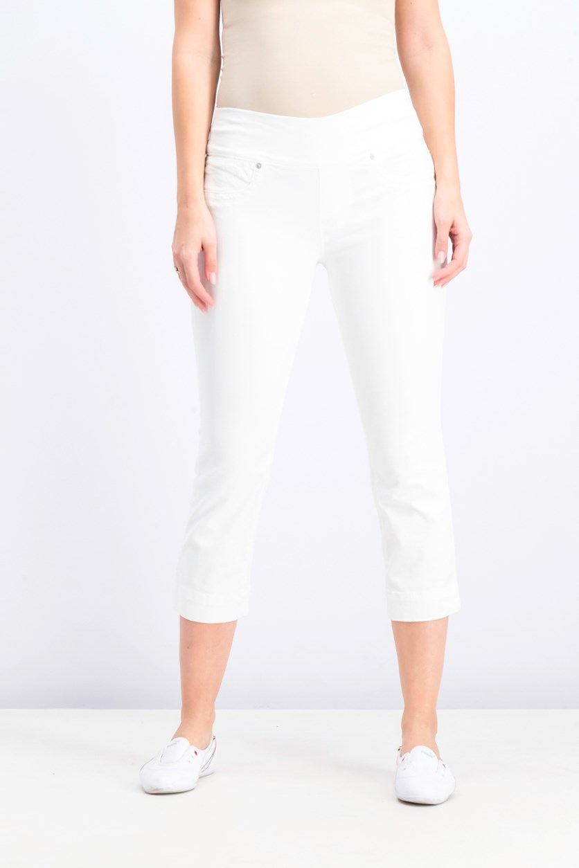 Pull-On Capri Jeans, Bright White