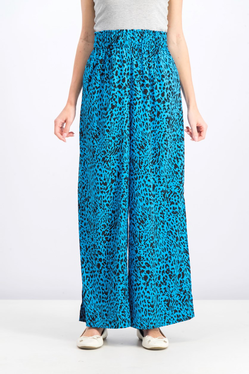 Women's Animal-Print Wide-Leg Pants, Blue Animal