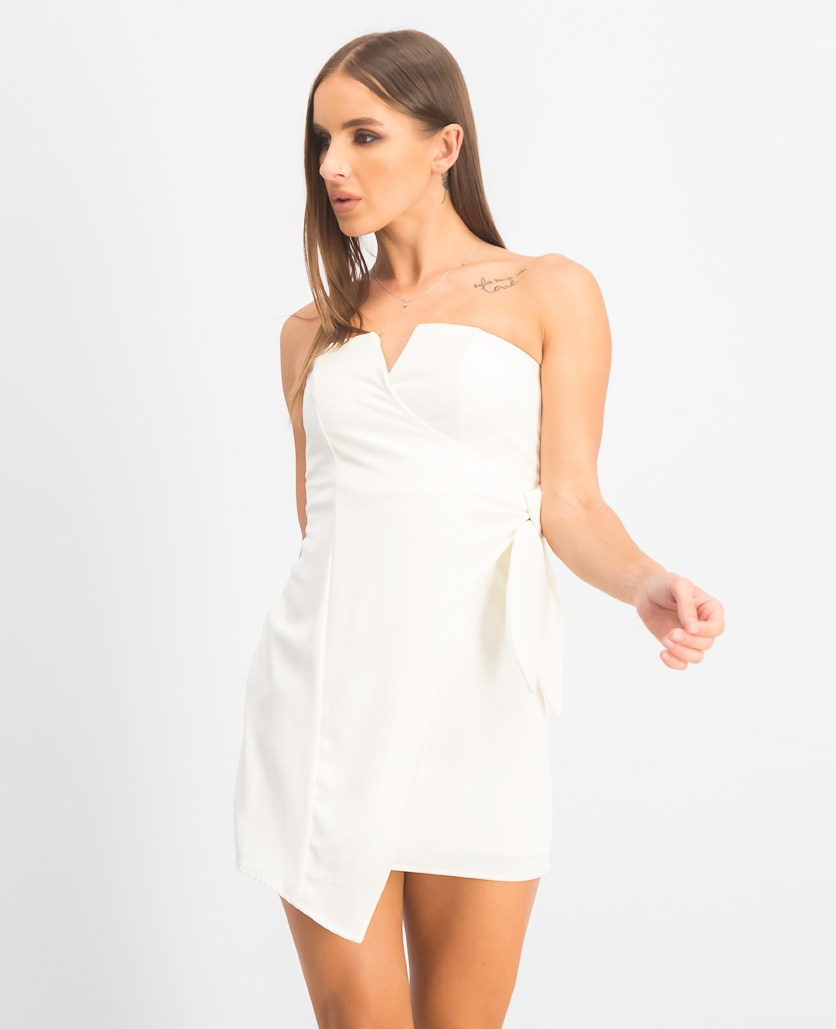 Juniors' Knot-Front Dress, Ivory