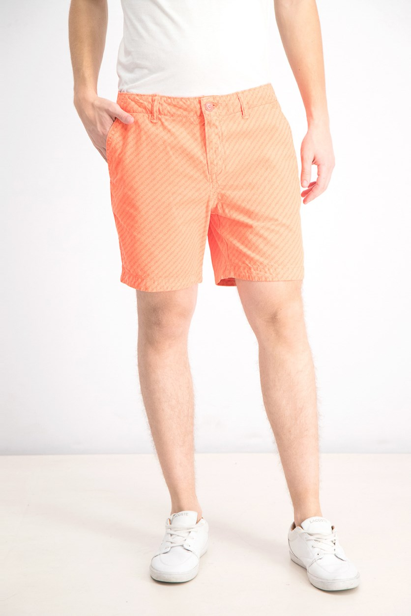 Men's New Wave Stripe Shorts, Neon Orange