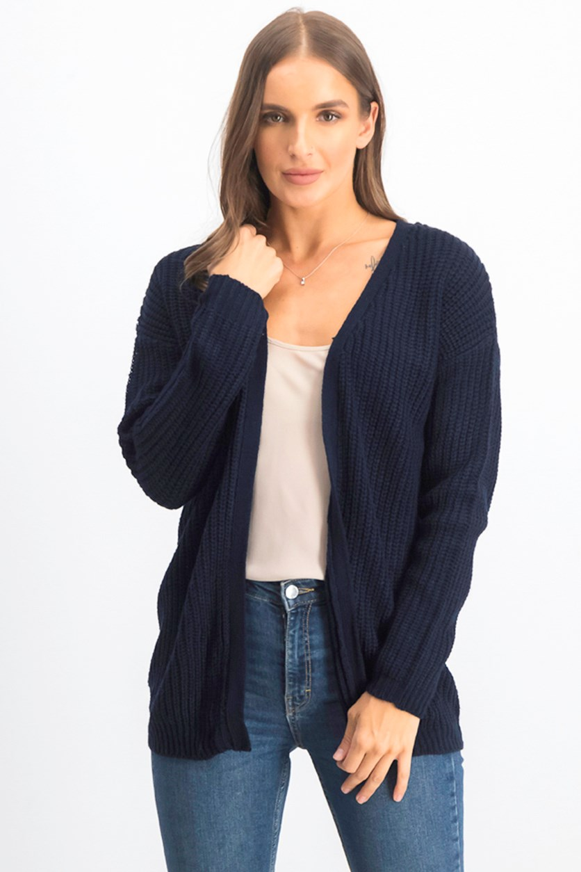 Women's Textured Cardigan, Navy Blue