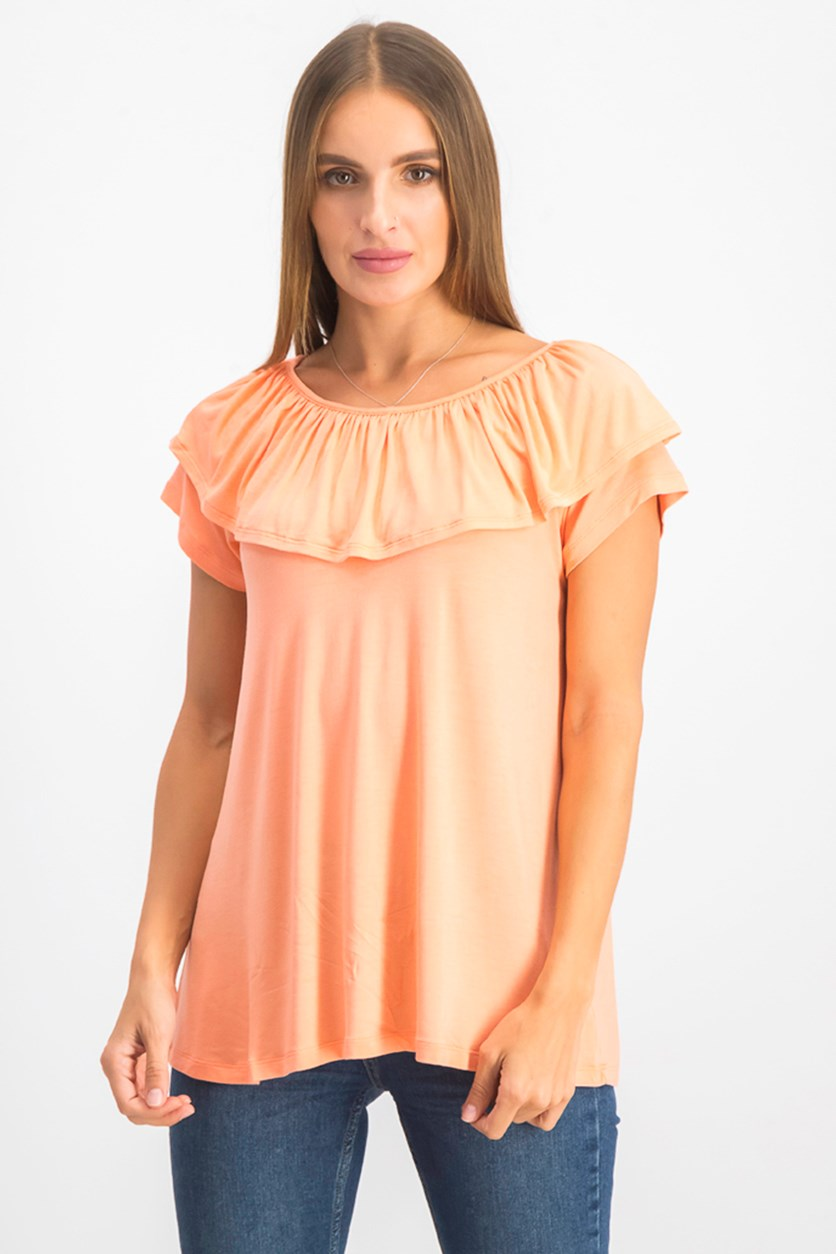 Womens Marilyn Pullover Top, Desert Coral