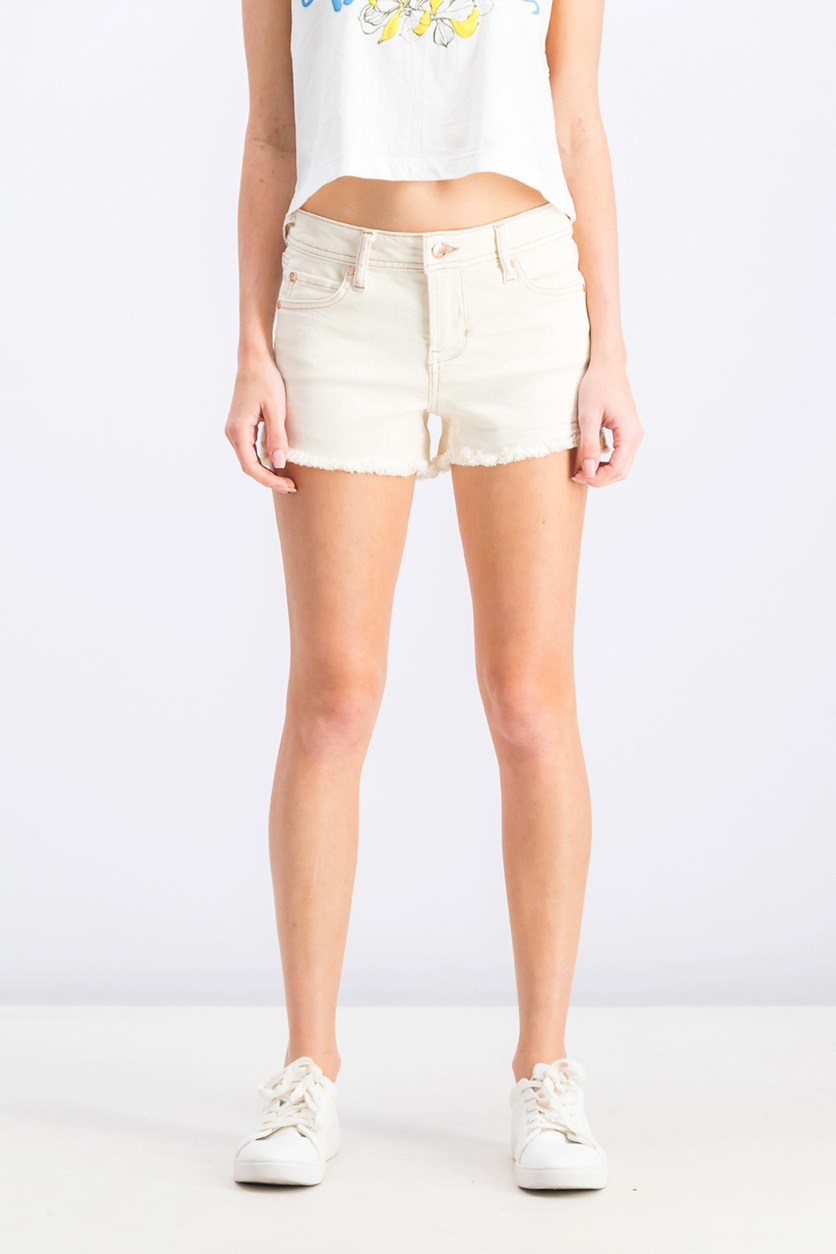 Juniors' Color-Wash Frayed Shorts, Pristine