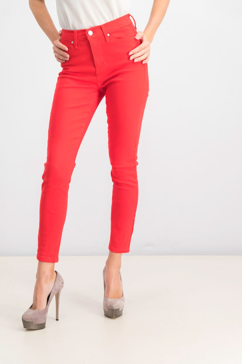 Juniors' High-Rise Colored Skinny Ankle Jeans, Fire