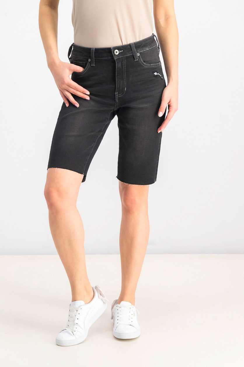 Women's Frayed-Hem Bermuda Shorts, Surf