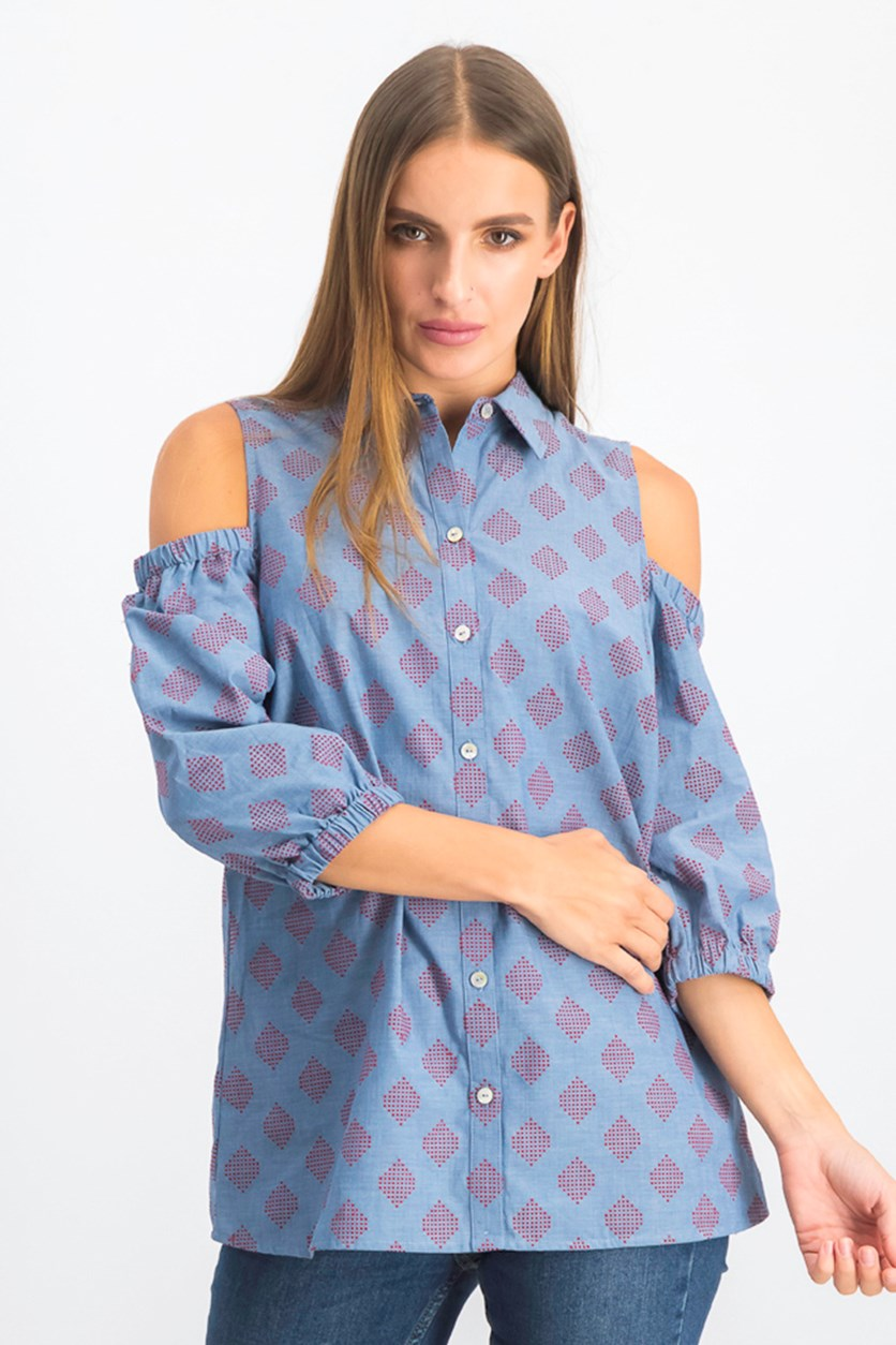Women's Tyra Cold-Shoulder Shirt, Chambray