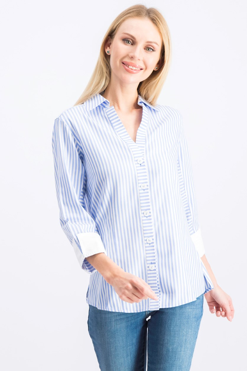 Women's Three-Quarter-Sleeve Striped Shirt, Blue/White