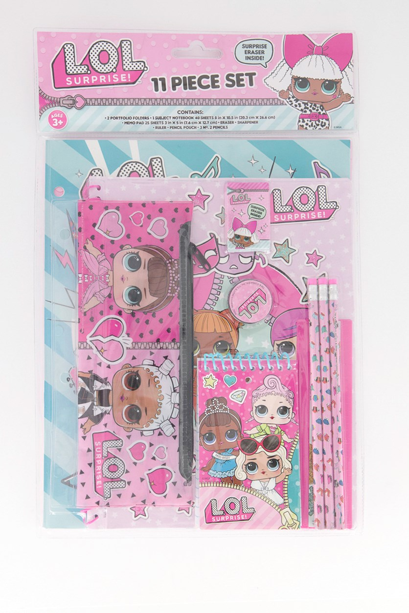 Wonderland Toys Art Stencils 11-Piece Notebook Set, Pink Combo