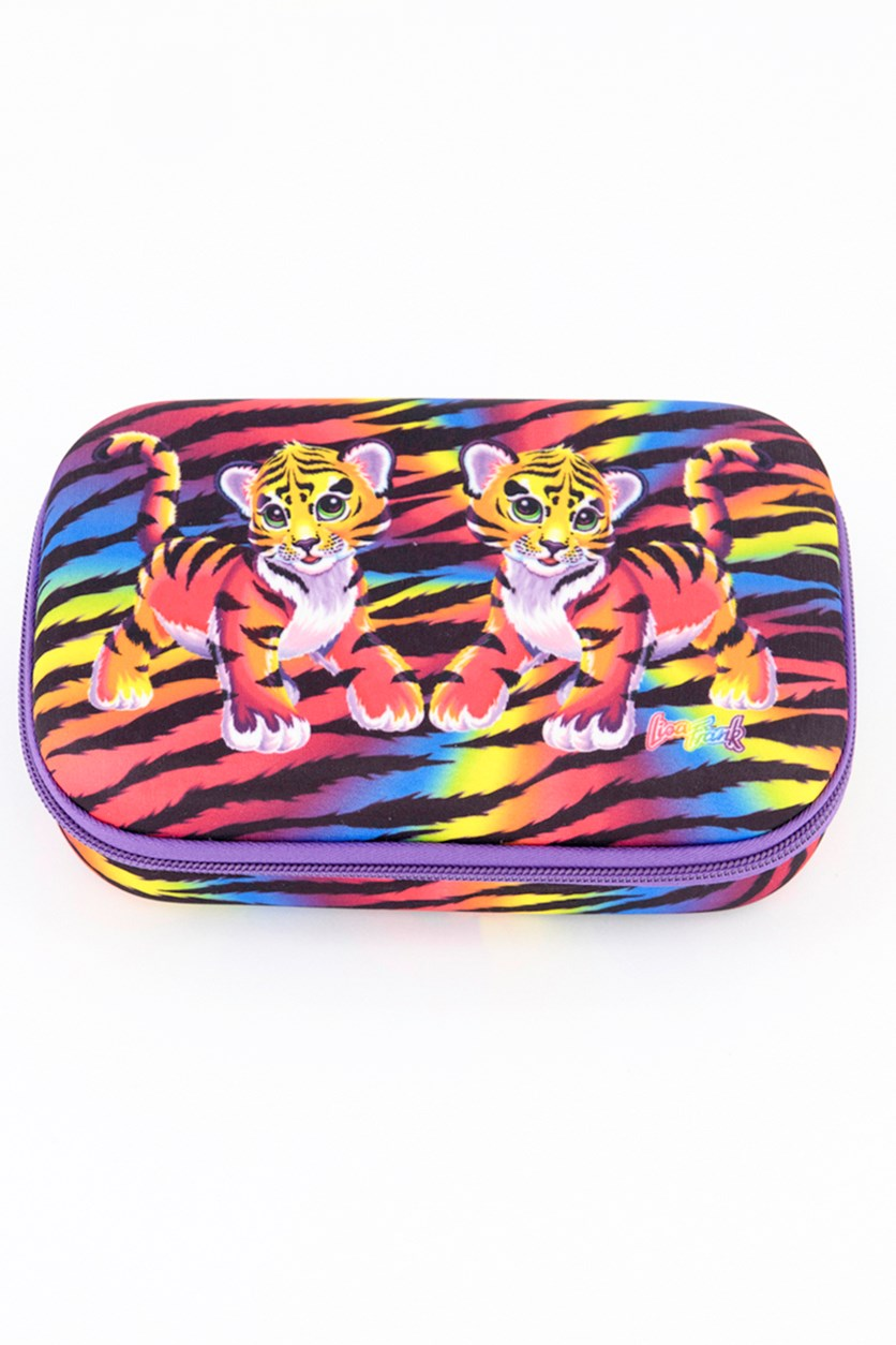 Molded Baby Tiger Pencil Case, Black/Purple/Pink Combo