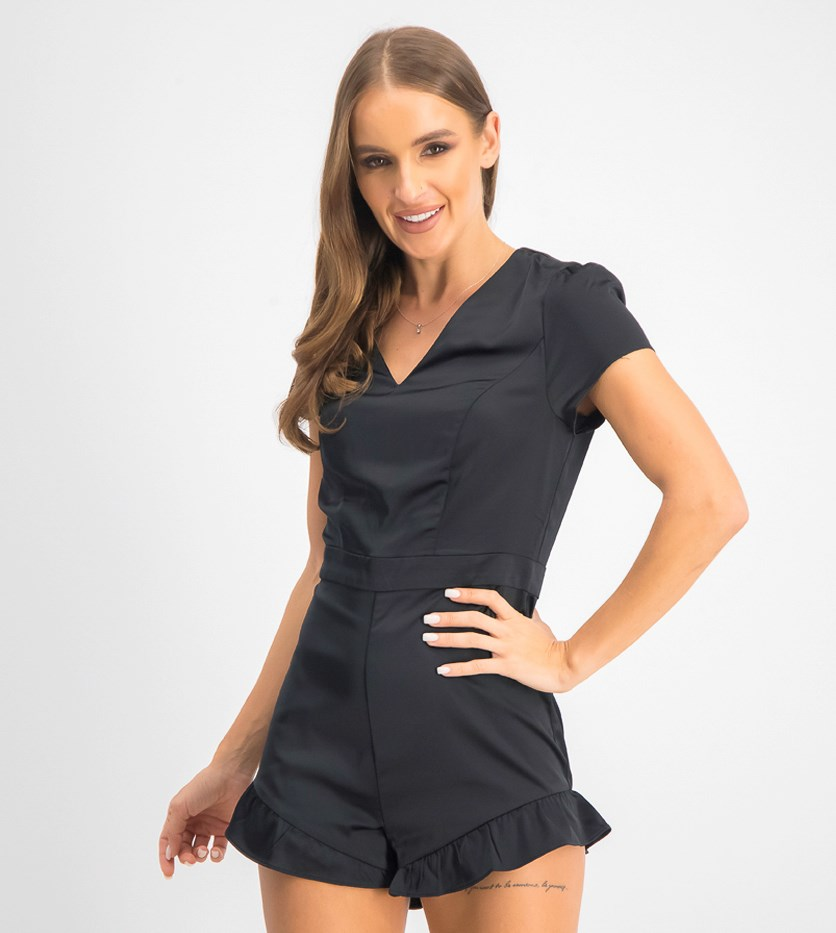 Women's V-Neck Ruffle Romper, Jet Black