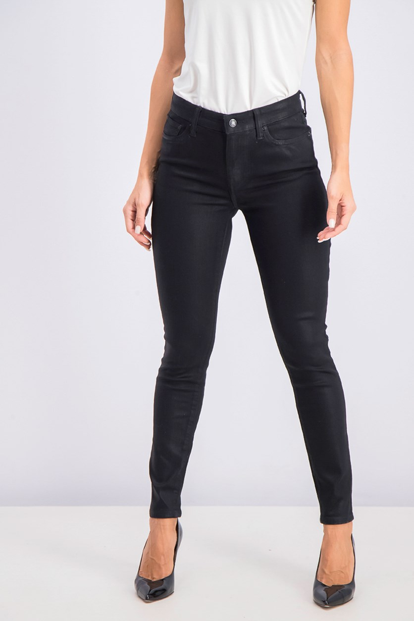 Women's Ava Coated Metallic Skinny Jeans, Black
