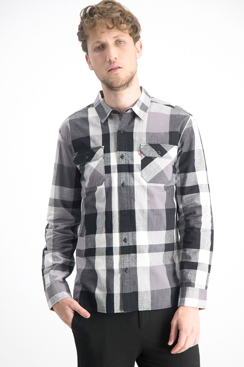 Men's Stuttgart Plaid Shirt, Black/White/Gray