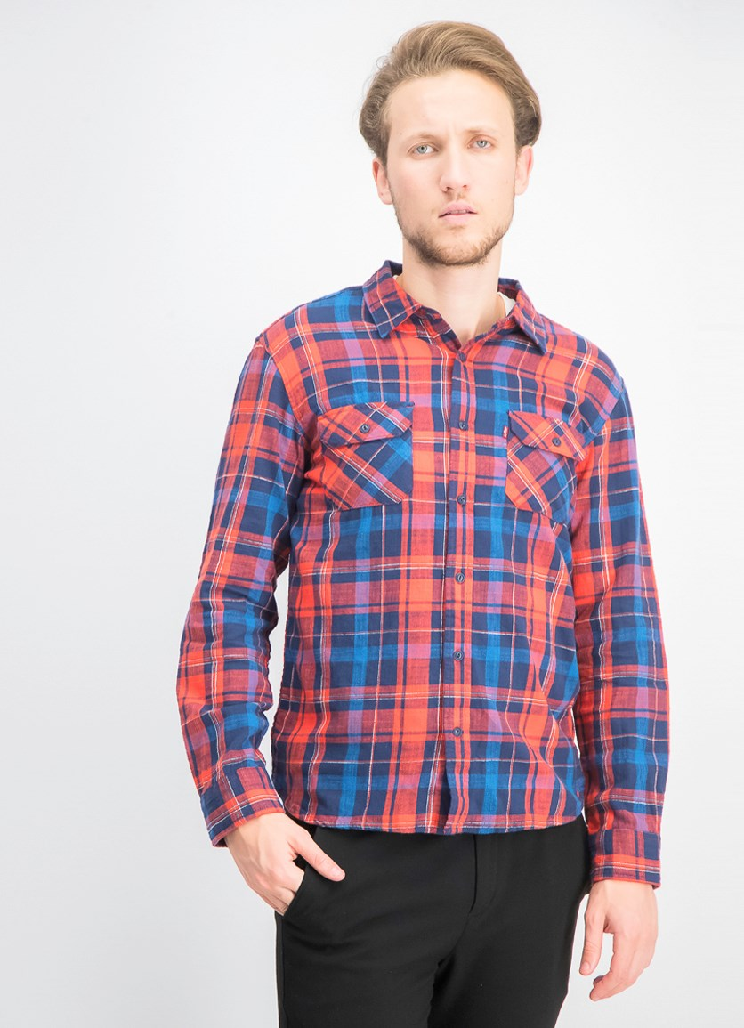Men's Long Sleeve Plaid Shirt, Red/Blue