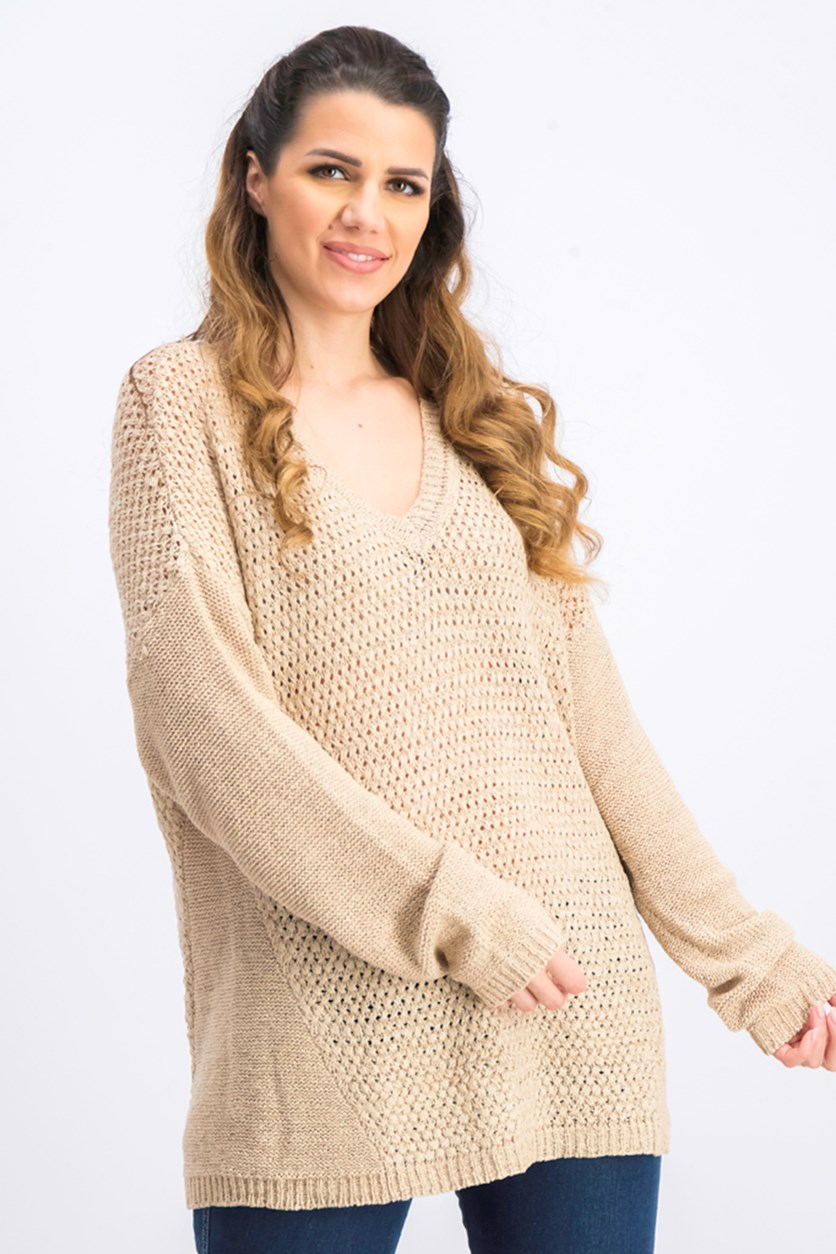 Women's Mixed Stitch Semi Sheer V-Neck Pullover Sweater, Beige
