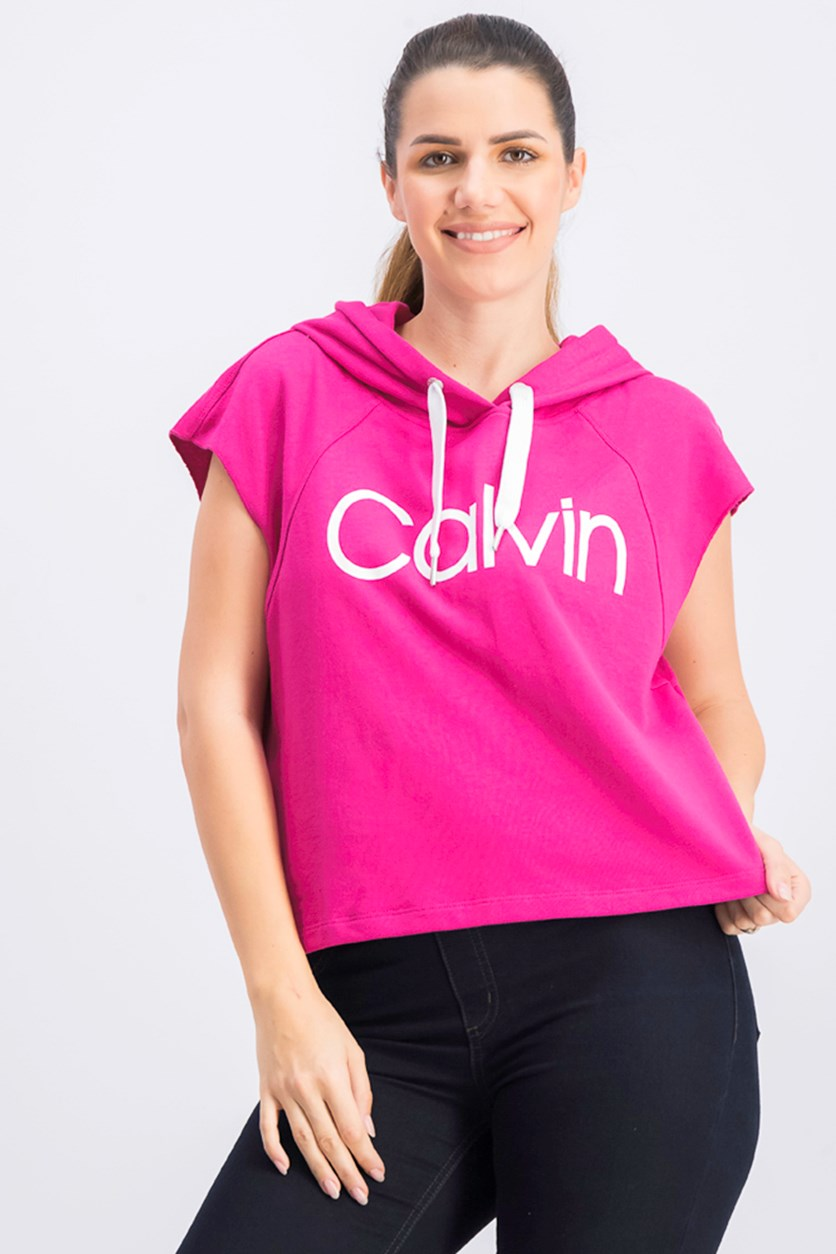 Women's Cropped Sleeveless Hoodie, Rose Punch