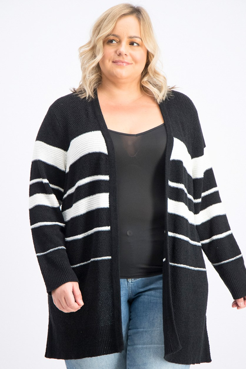 Women's Plus Size Long Sleeve Multi Striped Cardigan, Black/White