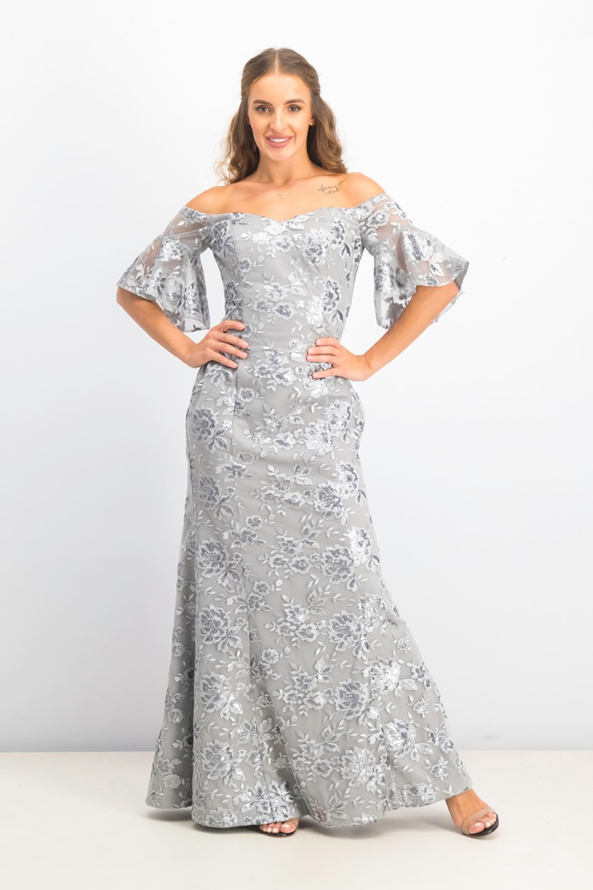 Women's Off-the-Shoulder Sequin Embroidered Gown, Gray